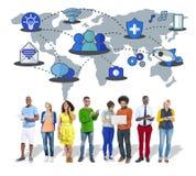 Socialt nätverk som delar anslutningsbegrepp för globala kommunikationer Royaltyfri Fotografi