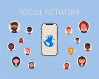 Socialt nätverksfolk, telefon och planet royaltyfri illustrationer