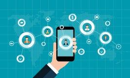 Socialt nätverksmarknadsföringsbegrepp och digital affär på mobilt begrepp vektor illustrationer