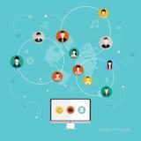 Socialt nätverksvektorbegrepp Arkivbild
