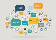 Socialt nätverksvektorbegrepp Arkivfoto