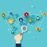 Socialt nätverksvektorbegrepp Plan designillustration för rengöringsduk Arkivfoton