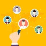 Socialt nätverksvektorbegrepp Plan designillustration för rengöringsduk Royaltyfri Fotografi