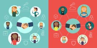 Socialt nätverksvektorbegrepp Plan designillustration för webbplatser Infographic design Kommunikationssystem och teknologier Royaltyfri Fotografi