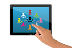 Socialt nätverk på tabletPCen Arkivfoton