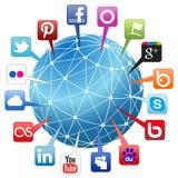 Socialt nätverksbegrepp för värld Arkivbild