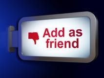 Socialt nätverksbegrepp: Tillfoga som vän och tummen Royaltyfri Foto