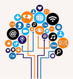 Socialt plan för tree för medelnätverksaffär Arkivfoton