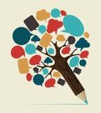 Socialt träd för massmediabegreppsblyertspenna stock illustrationer