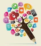 Socialt träd för massmediabegreppsblyertspenna Royaltyfri Fotografi