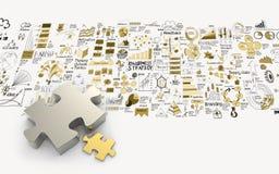 Sociedad 3d de los rompecabezas y estrategia empresarial dibujada mano Imágenes de archivo libres de regalías