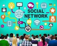 Sociedad en línea de Internet social de la red que conecta los medios sociales C Foto de archivo libre de regalías
