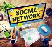Sociedad en línea de Internet social de la red que conecta medios sociales Fotografía de archivo libre de regalías