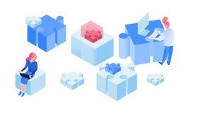 Sociedad, equipo que trabaja el ejemplo isométrico stock de ilustración
