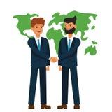 Sociedad global, hombres de negocios que sacuden concepto plano del ejemplo del vector de la historieta de las manos en fondo bla stock de ilustración