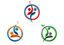 Sociedad, logotipo, estrella, éxito, gente, símbolo, sano, equipo, educación, vector, icono, diseño Foto de archivo