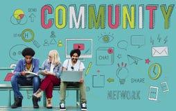 Sociedade da comunidade que compartilha do conceito de pertença de uma comunicação fotografia de stock