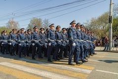 Società del marzo degli ufficiali di polizia stradale sulla parata Fotografia Stock Libera da Diritti