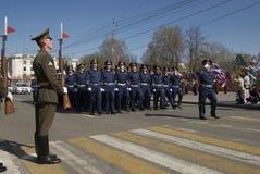 Società del marzo degli ufficiali di polizia stradale sulla parata Immagine Stock Libera da Diritti