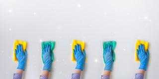 Societ? di pulizia commerciale Mani degli impiegati in guanto protettivo di gomma blu Pulizia generale o regolare fotografia stock libera da diritti