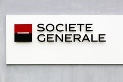 Societe Generale logo on a wall Royalty Free Stock Photography