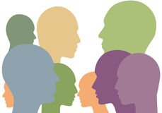 Society abstract concept with face silhouettes. Stock Photo