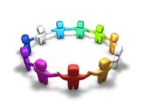 Society, diversity, multi-color people in a ring holding hands. Royalty Free Stock Photo