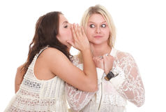 Society gossip two happy young girlfriends talking Stock Photo