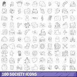 100 society icons set, outline style Royalty Free Stock Photography
