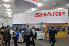 The Society of Information Display Show 2015 San Jose. The Sharp booth at SID 2015 Society of Information Display show at San Jose California Stock Photos