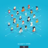 Society integrated 3d web icons. Digital network isometric concept. Society integrated 3d web icons. Digital network isometric interact concept. Connected Stock Image