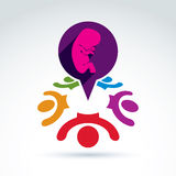Society and organizations taking care about new born children an. D unborn, women health, prenatal center, vector conceptual unusual symbol for your design Royalty Free Stock Images