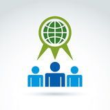 Society talking about ecology and green earth, vector conceptual Royalty Free Stock Images