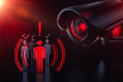 Society under control of artificial intelligence. Obey or face consequences. 3D rendering. Society under control of artificial intelligence. Obey or face royalty free illustration