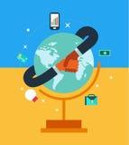 Socio commerciale della rete globale in una stretta di mano Fotografia Stock