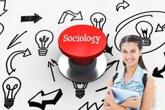 Sociologia contro il pulsante rosso digitalmente generato immagini stock