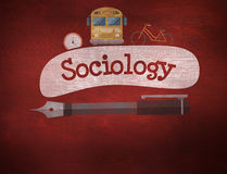 Sociology against desk. The word sociology and school graphics against desk Royalty Free Stock Photography