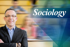 Sociology against elegant teacher with students sitting at lecture hall Stock Photography