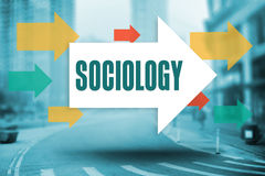 Sociology against new york street. The word sociology and arrows against new york street Royalty Free Stock Image