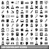 100 sociology icons set, simple style. 100 sociology icons set in simple style for any design vector illustration Royalty Free Stock Image