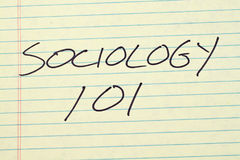 Sociology 101 On A Yellow Legal Pad. The words `Sociology 101` on a yellow legal pad Royalty Free Stock Photos