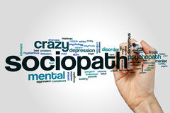 Sociopath word cloud. Concept on grey background Royalty Free Stock Photos
