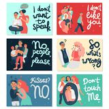 Sociopathy Horizontal Cards. Sociopathy set of horizontal cards with dislike of society, emotional cocoon, letterings isolated hand drawn vector illustration Royalty Free Stock Images