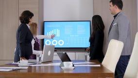 Socios comerciales en la sala de conferencias delante de la pantalla grande TV almacen de metraje de vídeo