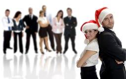 Socios comerciales que celebran la Navidad Imagen de archivo libre de regalías