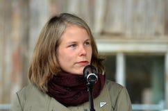 Socjalistyczny lewicy przyjęcia polityk Kirsti Bergso zdjęcia stock