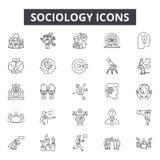 Socjologii kreskowe ikony dla sieci i mobilnego projekta Editable uderzenie znaki Socjologia konturu pojęcia ilustracje ilustracja wektor