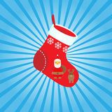 Sock. Christmas sock on the striped background Stock Photography