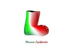 Sock Epiphany, Italian. Epiphany sock with the colors of the Italian flag vector illustration