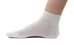 Sock and foot. Isolated. Stock Images